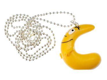 C Barbapapa Necklace 80cm Miniblings Pendant Letter Initial ABC Barbamama Yellow – Bild 1