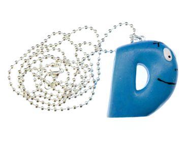 D Barbapapa Kette 80cm Miniblings Anhänger Buchstabe Initiale ABC Barbamama Blau – Bild 1