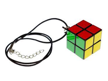 Zauberwürfel Kette Miniblings Anhänger Drehwürfel Würfel Spiel 2er Lederband – Bild 1