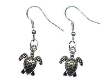 Schildkröte Ohrringe Miniblings Hänger Meeresschildkröte Reptil Meer Silbern – Bild 1