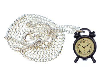 Alarm Bell Necklace 45cm Pendant Miniblings Time Clock Watch Wake-Up Black – Bild 1
