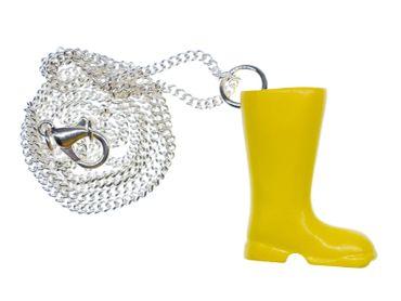 Gummistiefel gelb Kette Halskette Miniblings 45cm Garten Wasser Regen Stiefel – Bild 1