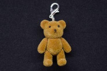 Teddy Bär Charm Anhänger Bettelanhänger Miniblings Teddybär Flock HELLBRAUN – Bild 1