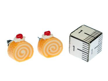 Biskuitrolle Ohrstecker Miniblings Stecker Ohrringe Kuchen Torte Biscuit ORANGE – Bild 2