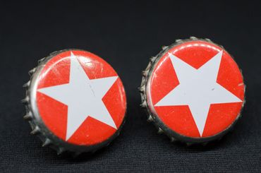 Bottle Cap Cuff Links Cufflinks Miniblings Buttons + Box Sterni Red Star Beer – Bild 2