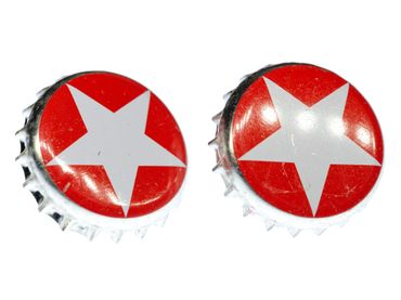 Bottle Cap Cuff Links Cufflinks Miniblings Buttons + Box Sterni Red Star Beer – Bild 1