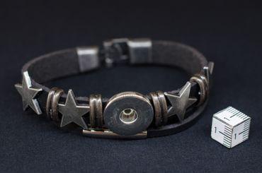 Snap On Armband Miniblings Armschmuck Kunstleder Ohne Snap On Button Stern – Bild 5