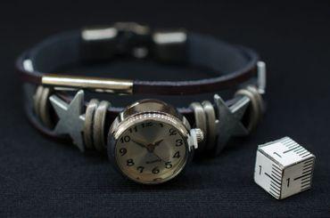 Snap On Button Armband Miniblings Armschmuck Kunstleder DAU HAU Stern Uhr Weiß – Bild 4