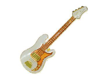 E-Bass Pin Brosche Miniblings Anstecknadel Instrument Gitarre Bassist Weiß MINI – Bild 3
