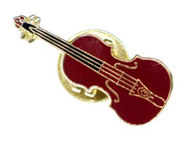 Bratsche Pin Brosche Miniblings Anstecknadel Instrument Musik Geige Braun MINI – Bild 1