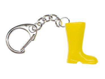 Gumboots Key Ring Dangling Miniblings Boots Pendant Rain Rainy Weather Yellow – Bild 1