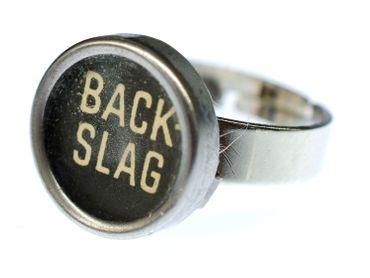 Backslag Taste Ring Schreibmaschinentaste Miniblings Fingerring Upcycling Schwarz – Bild 1