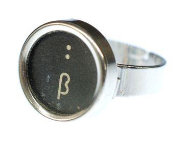 Eszett Colon Key Ring Vintage Typewriter Keys Miniblings Upcycling Black – Bild 4