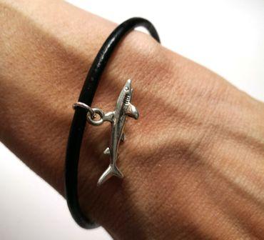 Hai Lederarmband Miniblings schwarz Armband Haifisch Weißer Hai Tauchen Sealife – Bild 2