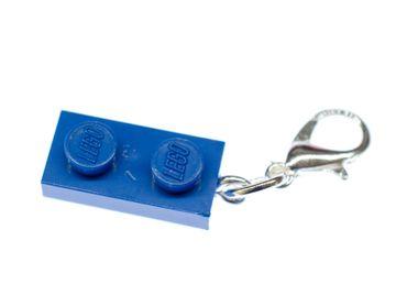 Lego 2er Plättchen Platte Charm Anhänger Bettelarmband Miniblings Charmes blau – Bild 1