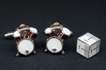 Drums Cuff Links Cufflinks Miniblings Music Musician Drummer Buttons + Box – Bild 1