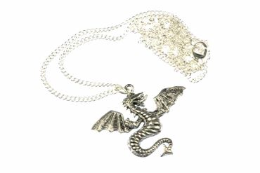 Dragon Necklace Miniblings Fantasy Silver Fire 60cm Dragons – Bild 2