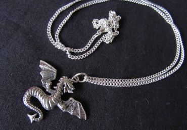 Dragon Necklace Miniblings Fantasy Silver Fire 60cm Dragons – Bild 3