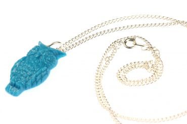 Owl Necklace Owl Miniblings Bird Birds 60cm Turquoise