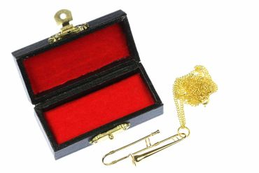 Trombones Trombone Necklace Miniblings Trombone Gold Plated 60cm + Box