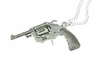 Revolver Necklace Pistol Colt Cowboy Miniblings 60cm XL