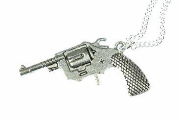 Revolver Kette Revolverkette Halskette Pistole Colt Cowboy Miniblings 60cm XL