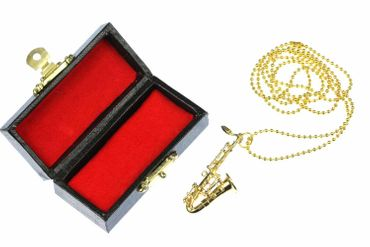 Saxophone Necklace Miniblings Saxophones Jazz Sax Gold 80cm + Box – Bild 1