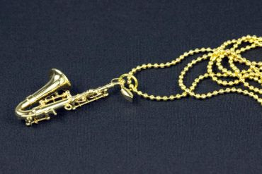 Saxophone Necklace Miniblings Saxophones Jazz Sax Gold 80cm + Box – Bild 2