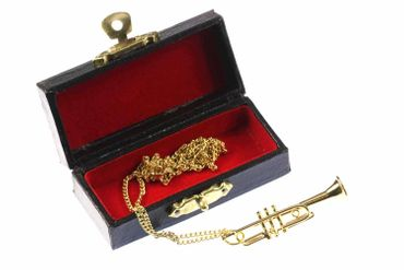 Trumpet Necklace Miniblings Orchestra Gold Plated 60cm + Box – Bild 1