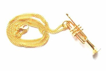 Trumpet Necklace Miniblings Orchestra Gold Plated 60cm + Box – Bild 2