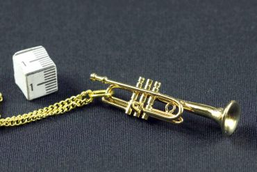 Trumpet Necklace Miniblings Orchestra Gold Plated 60cm + Box – Bild 8