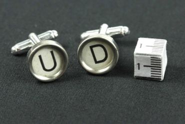 Request Letter Customized Initial Cuff Links Cufflinks Typewriter Keys Miniblings White E +? – Bild 4