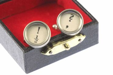 ! +? Cuff Links Cufflinks Vintage Typewriter Keys Miniblings Question Mark White – Bild 1