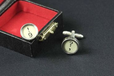 ! +? Cuff Links Cufflinks Vintage Typewriter Keys Miniblings Question Mark White – Bild 8