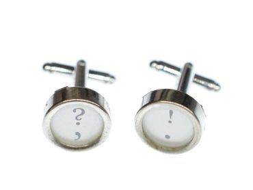 ! +? Cuff Links Cufflinks Vintage Typewriter Keys Miniblings Question Mark White – Bild 10