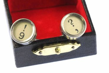 ! +? Cuff Links Cufflinks Vintage Typewriter Keys Miniblings Question Mark White – Bild 3