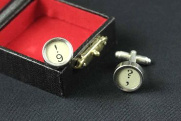 ! +? Cuff Links Cufflinks Vintage Typewriter Keys Miniblings Question Mark White – Bild 7