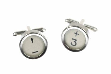 Maths Mathematics Plus Minus Sighn Signs Cuff Links Cufflinks Typewriter Keys Miniblings White