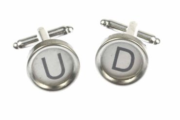 Request Letter Customized Initial Cuff Links Cufflinks Typewriter Keys Miniblings White W +?