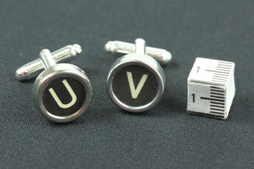 Request Letter Customized Initial Cuff Links Cufflinks Typewriter Keys Miniblings Schw G +? – Bild 4