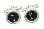 Maths Mathematics Plus Minus Sighn Signs Cuff Links Cufflinks Typewriter Keys Miniblings Black