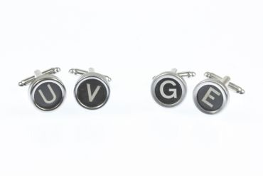 Request Letter Customized Initial Cuff Links Cufflinks Typewriter Keys Miniblings Schw M +? – Bild 5