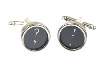! +? Cuff Links Cufflinks Vintage Typewriter Keys Miniblings Question Mark Exklamation Mark Black