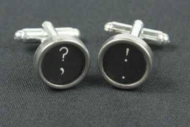 ! +? Cuff Links Cufflinks Vintage Typewriter Keys Miniblings Question Mark Exklamation Mark Black – Bild 3