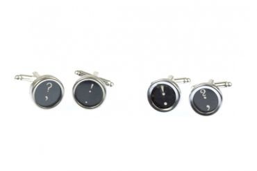 ! +? Cuff Links Cufflinks Vintage Typewriter Keys Miniblings Question Mark Exklamation Mark Black – Bild 5