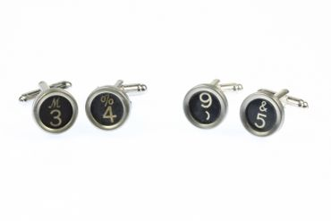Request Number Cuff Links Cufflinks Typewriter Keys Miniblings Number Black 1+? – Bild 4