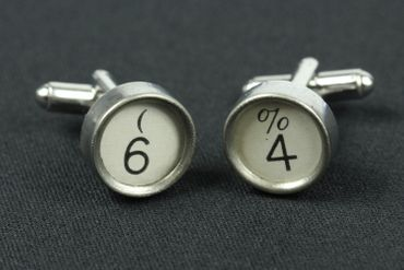 Request Number Cuff Links Cufflinks Typewriter Keys Miniblings Number White 6+? – Bild 2