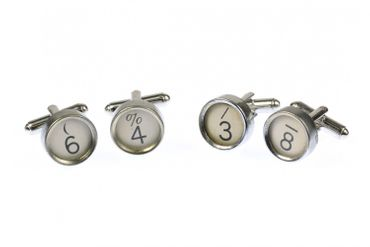 Request Number Cuff Links Cufflinks Typewriter Keys Miniblings Number White 6+? – Bild 5