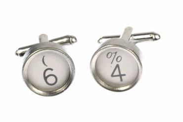 Request Number Cuff Links Cufflinks Typewriter Keys Miniblings Number White 9+?
