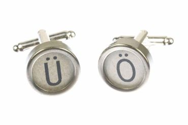 Ä Ü Ö German Umlauts Cuff Links Cufflinks Vintage Typewriter Keys Miniblings White – Bild 2
